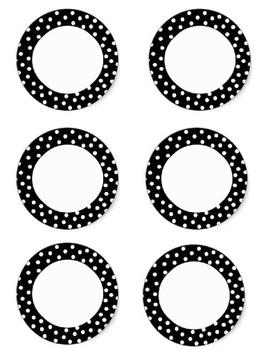 Supply Labels {Black and White Polka Dot} FREEBIE