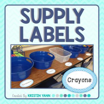 Supply Labels - Blue Chevron