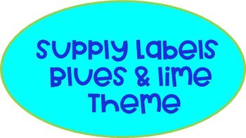 Supply Labels (Blues & Lime Theme)