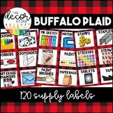 Supply Labels: Buffalo Plaid   Classroom Decor