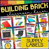 Supply Labels   Building Block Classroom Decor LEGO Inspired