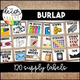 Supply Labels: Burlap   Classroom Decor