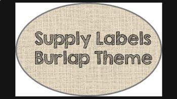 Supply Labels (Burlap Theme)