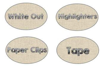 Supply Labels (Burlap Theme)