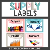 Supply Labels Calm Watercolor Themed