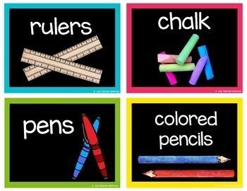 Chalkboard Brights Supply Labels