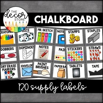 Supply Labels: Chalkboard | Classroom Decor