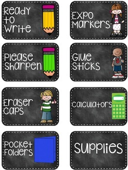 Supply Labels - Chalkboard Theme!