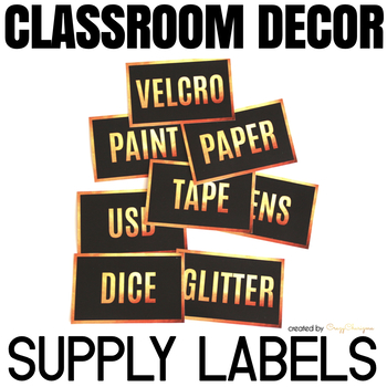 Supply Labels - Classroom Decor Black and Gold