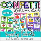 Supply Labels | Confetti Classroom Decor Theme