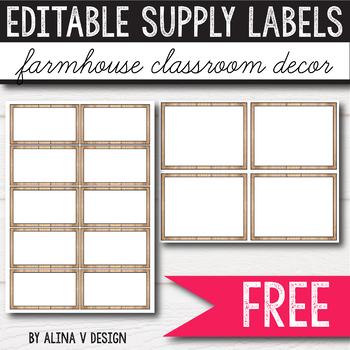 Supply Labels - Farmhouse Themed Classroom - Classroom Labels FREE