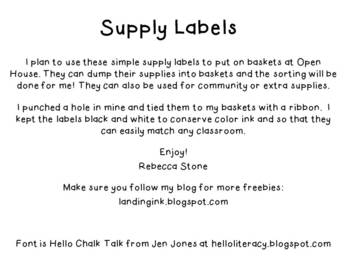 Supply Labels: Open House