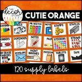 Supply Labels: Orange | Classroom Decor