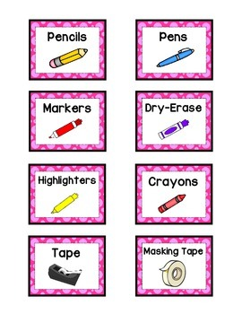 Supply Labels - PINK