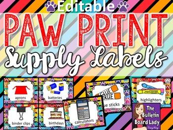 Supply Labels Paw Print Theme