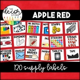 Supply Labels: Red | Classroom Decor
