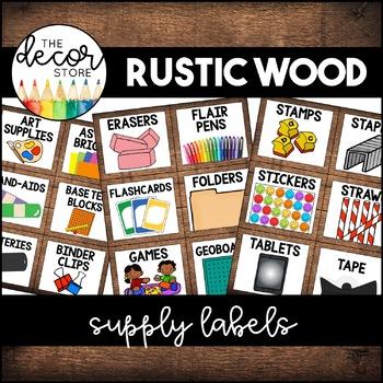 Supply Labels: Rustic Wood | Classroom Decor