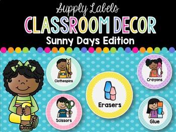 Supply Labels: Sunny Days Classroom Decor