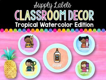 Supply Labels: Tropical Watercolor Classroom Decor