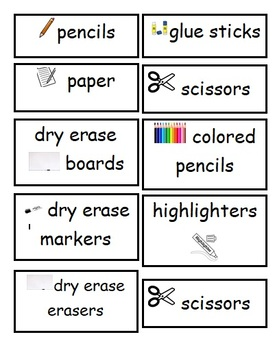 Supply Labels, Upper Elementary, Editable Word Document