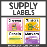 Supply Labels Watercolor Themed