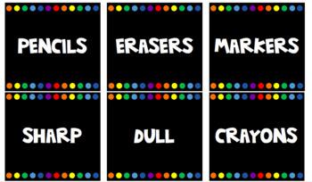 Supply Labels - black rainbow chalkboard theme