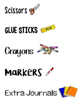 Supply Labels for Classroom