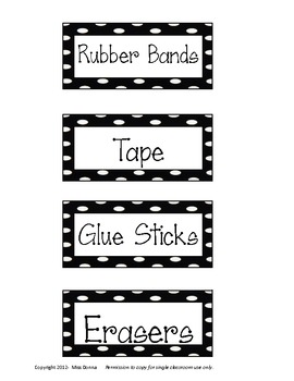 Supply Labels for Organization Drawers- Polka Dot Theme