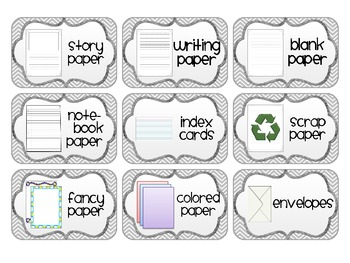 Supply Labels for your Writing Center
