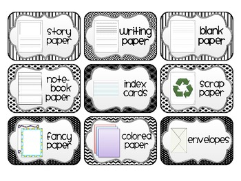 Supply Labels for your Writing Center *Black and White Edition*