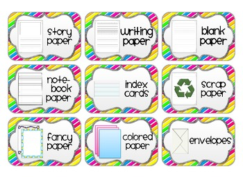 Supply Labels for your Writing Center *Bright Edition*
