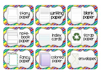 Supply Labels for your Writing Center *Primary Edition*