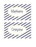 Supply Labels in Navy Sideways Stripe
