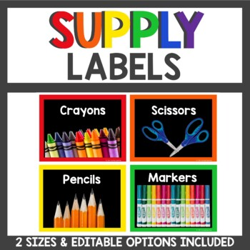 Supply Labels in Primary and Black