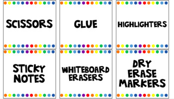 Supply Labels - white rainbow theme