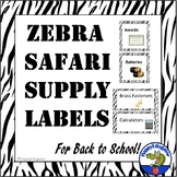 Classroom Supply Labels with Pictures Back to School Zebra Safari Zoo Theme