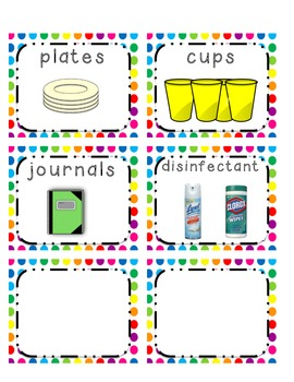 Supply Labels with bright polka dot background theme