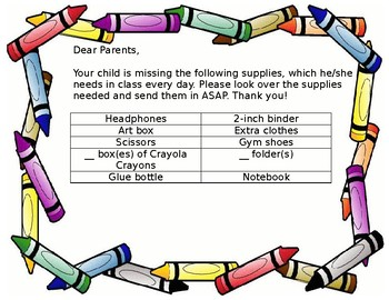 Supply Letter