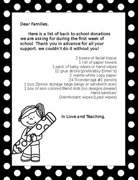 Supply Letter For Families