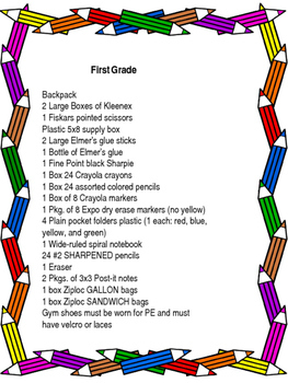 Supply List Kindergarten First Grade Second Grade EDITABLE