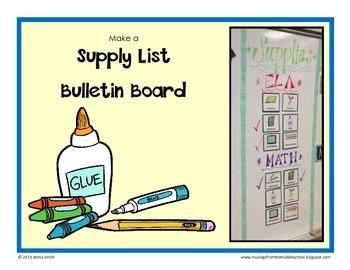 Supply List Magnets/Bulletin Board