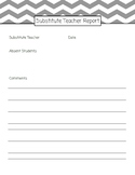 Supply/Occasional/Substitute Teacher Daily Report (Editable)