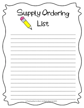Supply Ordering List