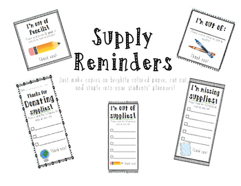 Supply Reminders