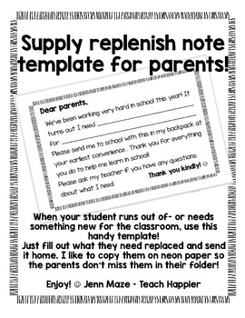 Supply Replacement or Replenishment Note