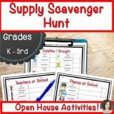Supply Scavenger Hunt   Open House Activities