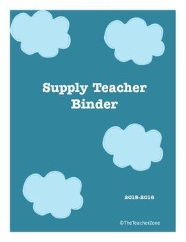 Supply Sub Teacher Binder