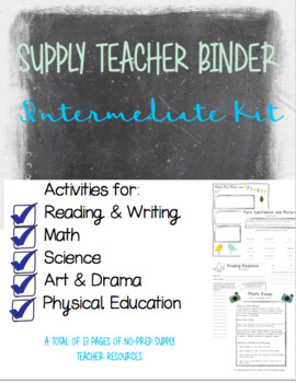 Intermediate Supply Teacher Binder, Emergency Plans and Activities