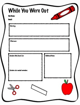 Supply Teacher Binder Kit FREEBIE, While You Were Out Sub Forms
