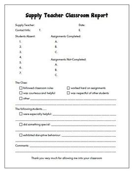 Freebie Supply Teacher Classroom Report